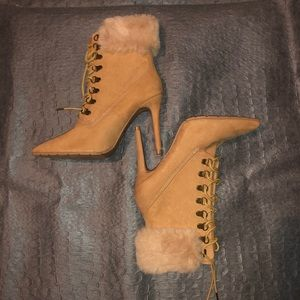 Shoes - Wheat Colored Lace Up Winter Boots/Heels